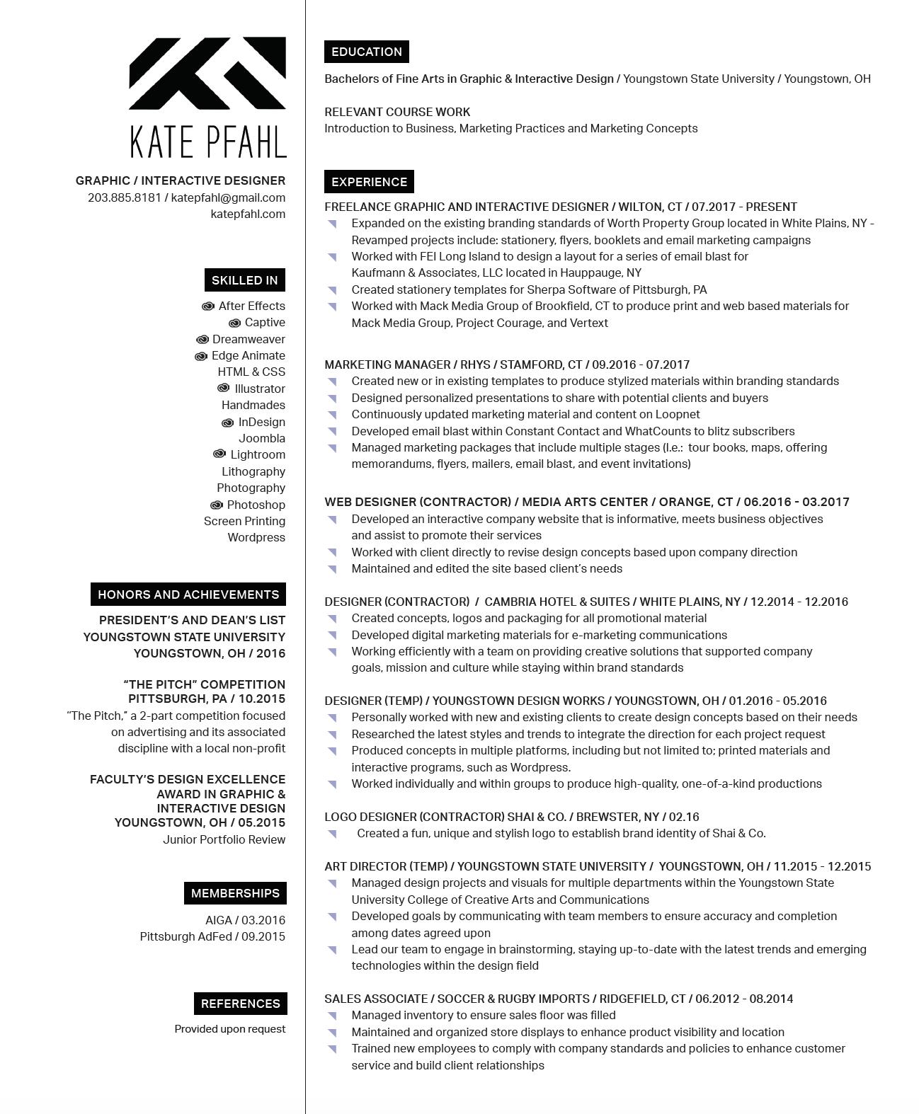 Resume Kate Pfahl